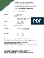 Enrolment Form Sunday Pee Wee Tennis