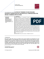 Numerical Simulation of Thermo-fluid Dynamic Entropy Generation in Centrifugal Compressors for Micro-turbine Application