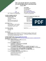 ANATOMY A215 (BASIC HUMAN ANATOMY)  SYLLABUS OF INFORMATION AND POLICIES  FALL 2015