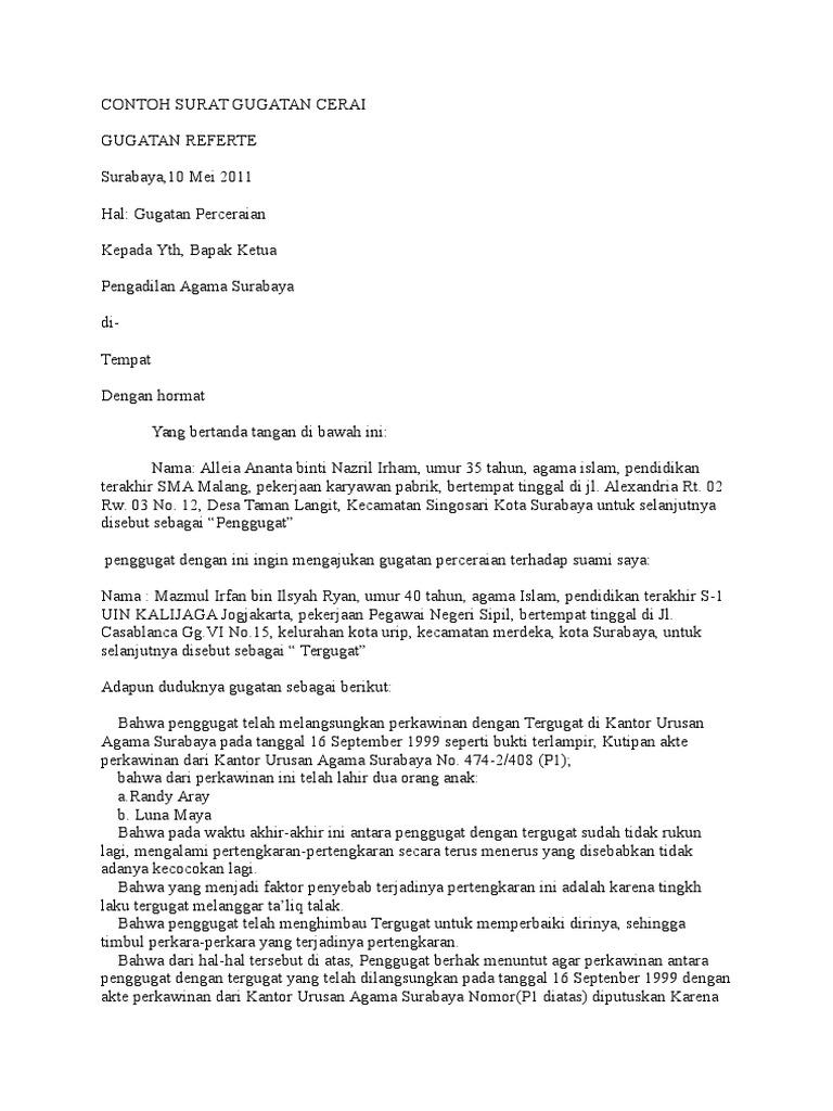Contoh Surat Gugatan Cerai Di Pengadilan Agama