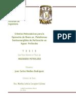 Criterios Metoceánicos Para La Operación de Risers en Plataformas Semisumergibles de Perforación en Aguas Profundas T E S I S INGENIERO PETROLERO