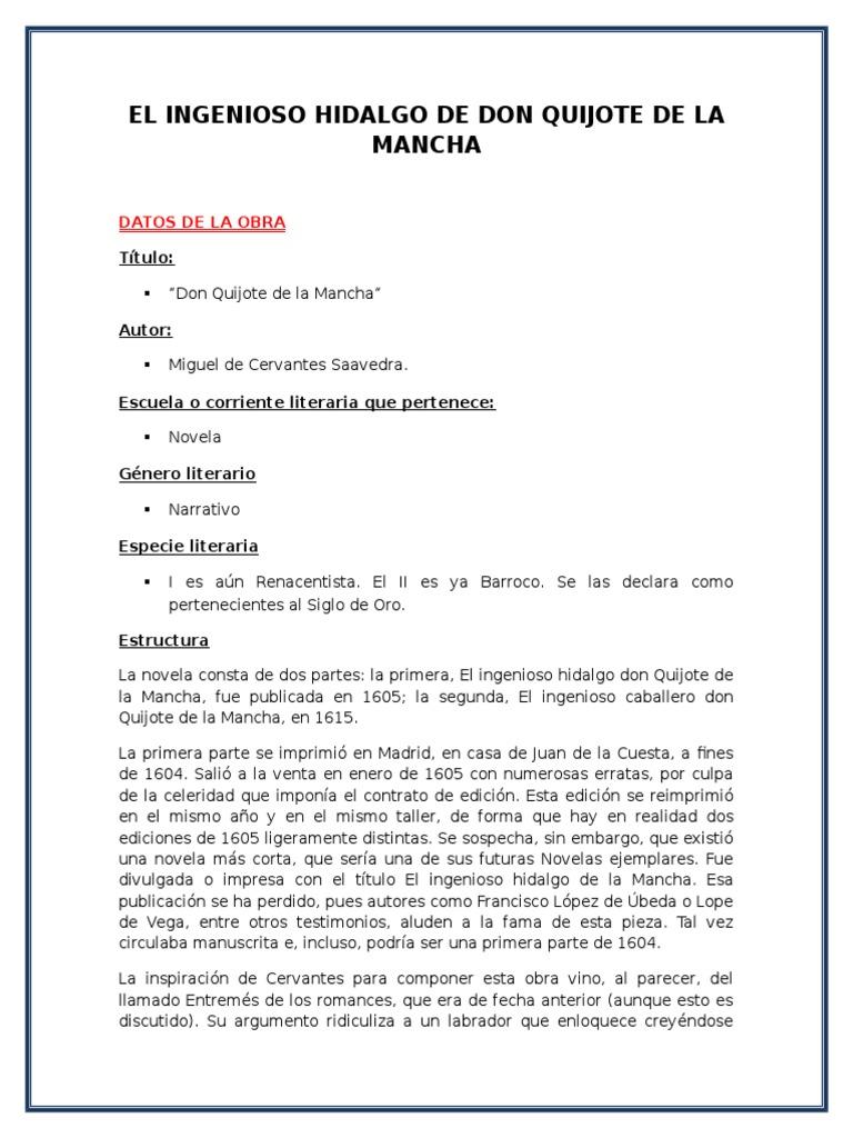Estructura De Don Quijote Dela Mancha Varias Estructuras
