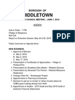 Agenda for June 7 2016 Middletown Borough Council meeting