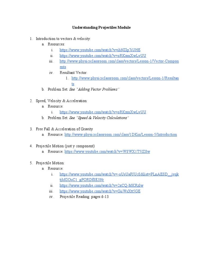 understandingprojectilesmodule | Velocity | Acceleration