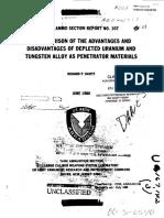 Depleted Uranium-Vs Tungsten for Tank Un Ammunition-ReportNo 107