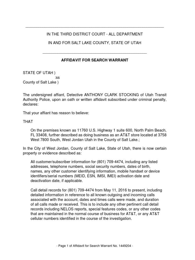 UTA Police Search Warrant | Surveillance | Affidavit