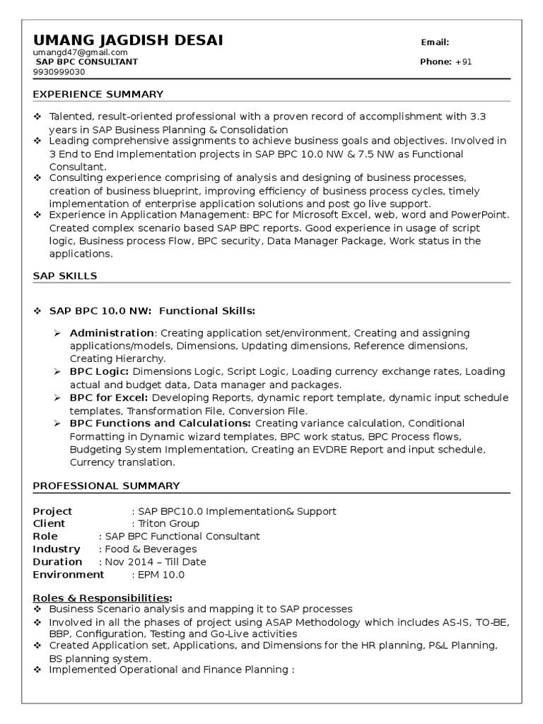 Sap Bpc Resume - A Good Owner Manual Example •