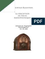 Blaustein Leopold La Perception Des Pieces Radiophonique 1939