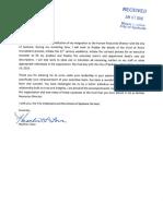 Heather Lowe's resignation letter