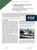 The Study of Proper Time Range Welding to Resistence Spot Welding for Mild Steel Resistence Spot Welding for Mild Steel