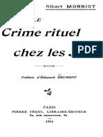 Monniot Albert - Le Crime Rituel Chez Les Juifs