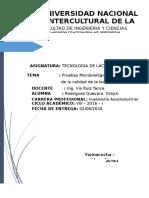 Informe Prueba Microbiolocica de Determinacin de La Leche