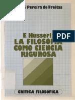 e. Husserl La Filosofia Como Ciencia Rigurosa, Joa s Pereira de Freitas