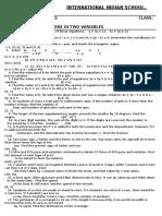 Linear Equations - 10 - Sa -i
