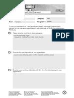 Pre Programme Questionnaire
