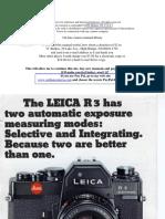 Leica r3 Exposure Booklet.