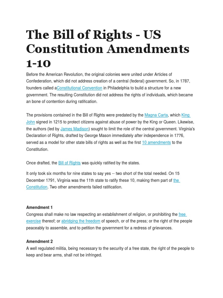 The Bill Of Rights United States Bill Of Rights Sixth Amendment