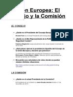 Unión Europea El Consejo y La Comisión
