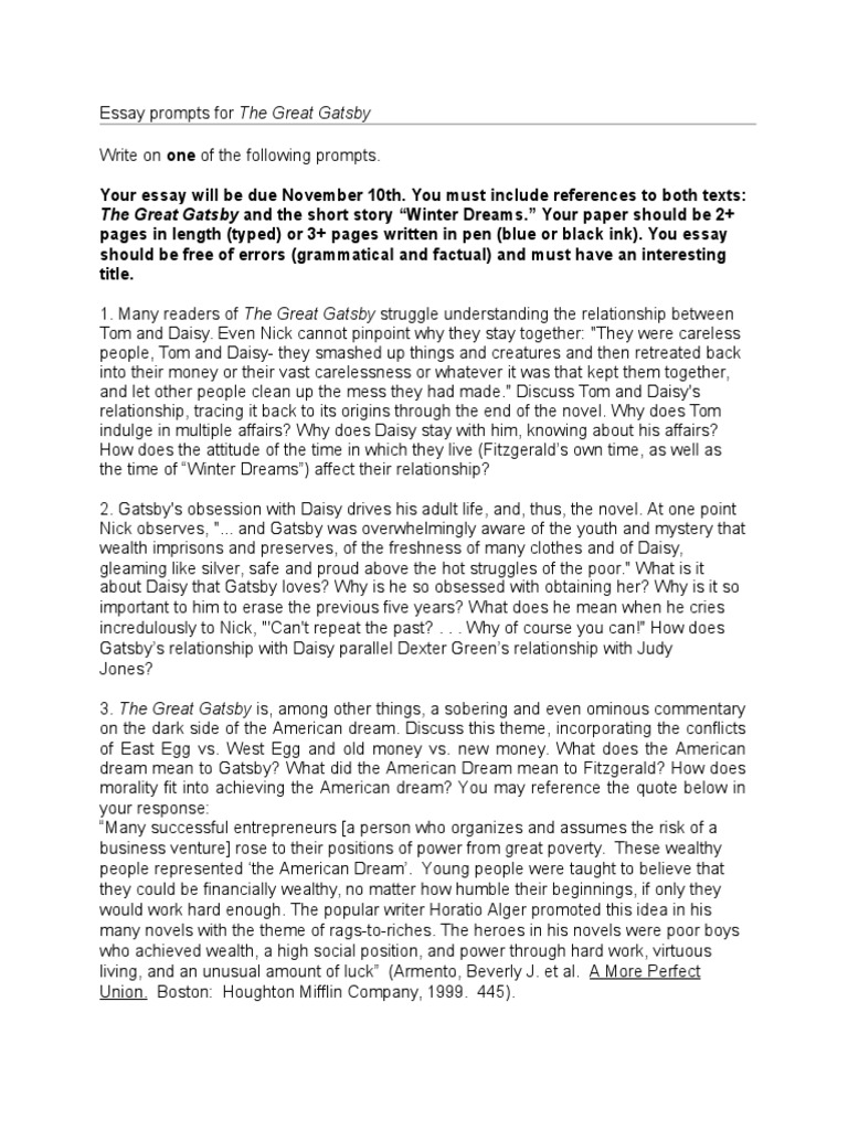 The Great Gatsby Essay Prompts  The Great Gatsby  E Business Essay also Controversial Essay Topics For Research Paper  How To Write An Essay Thesis