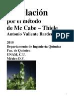 Destilación Por El Método de McCabe-Thiele. Valiente, Antonio. Facultad de Química, UNAM, 2010