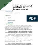 Estudo de Impacto Ambiental Para Os Gasodutos de Transporte e Distribuição