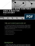 Auditing Data Centers and Disaster Recovery