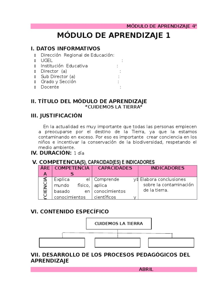 Módulos De Aprendizaje 4 Abril Docx Don Quijote