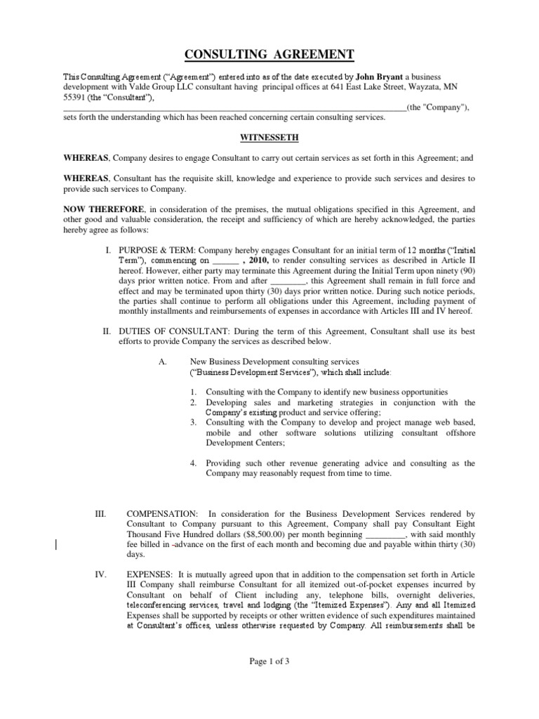 Standard Consulting Agreement Confidentiality Service Of Process
