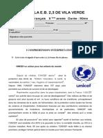 ficha Le Monde Solidaire 9º ano