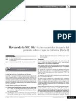 Revisando La NIC 10 - Hechos Ocurridos Después Del Periodo Sobre Elque Se Informa (Parte I)