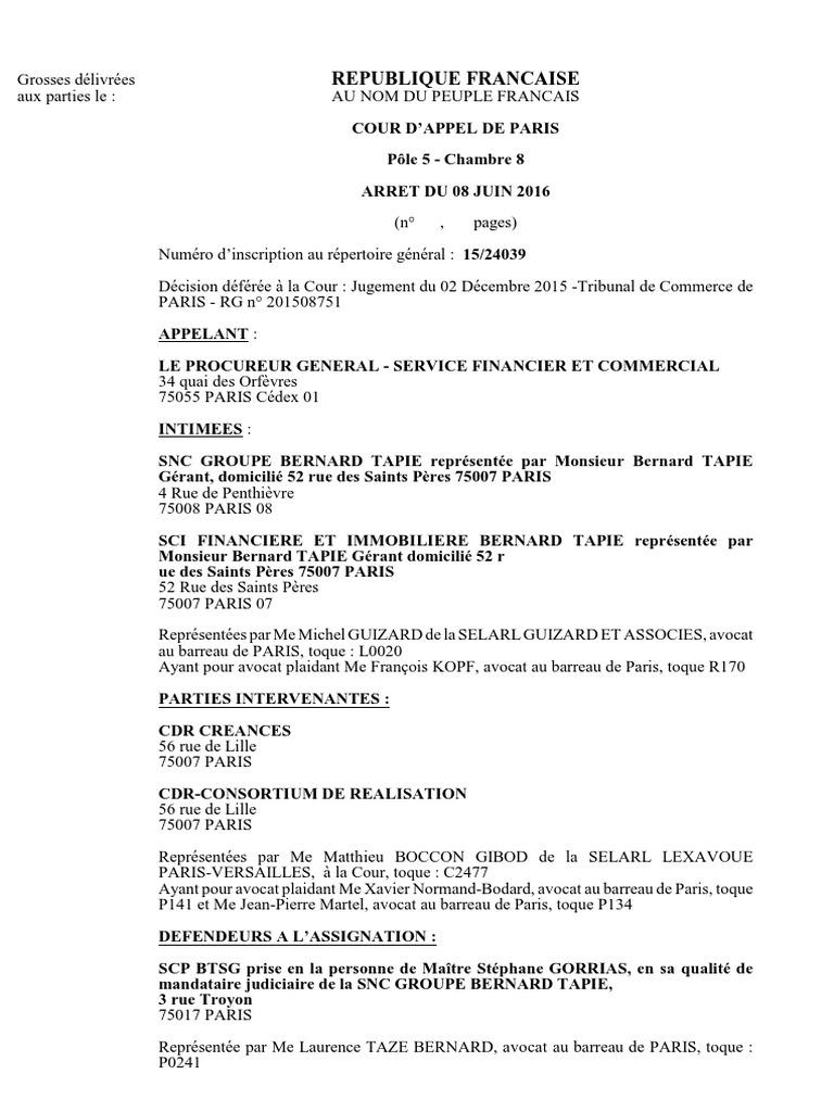 Tapie l 39 arr t de la cour d 39 appel - Chambre correctionnelle cour d appel ...