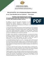 NOTA DE PRENSA N° 029 EL PLÁSTICO GRAVE AMENAZA OCEÁNICA ADVIERTE ARMA EN EL DÍA MUNDIAL DE LOS OCÉANOS 8 DE JUNIO