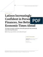 Latinos Increasingly Confident in Personal Finances, See Better Economic Times Ahead