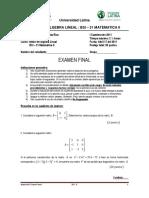 2011 III Examen I C Algebra Lineal