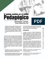 El Metodo Analitico en Ambito Pedagogico