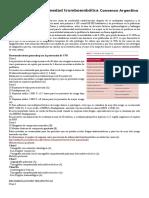 Consenso de Enfermedad Tromboembólica Consenso Argentino SAC