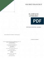 Blanchot El Espacio Literario Libro