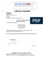 Certificate of Quality Cuña Serie 13163