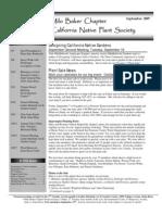 Milo Baker Chapter Newsletter, September 2007 ~ California Native Plant Society