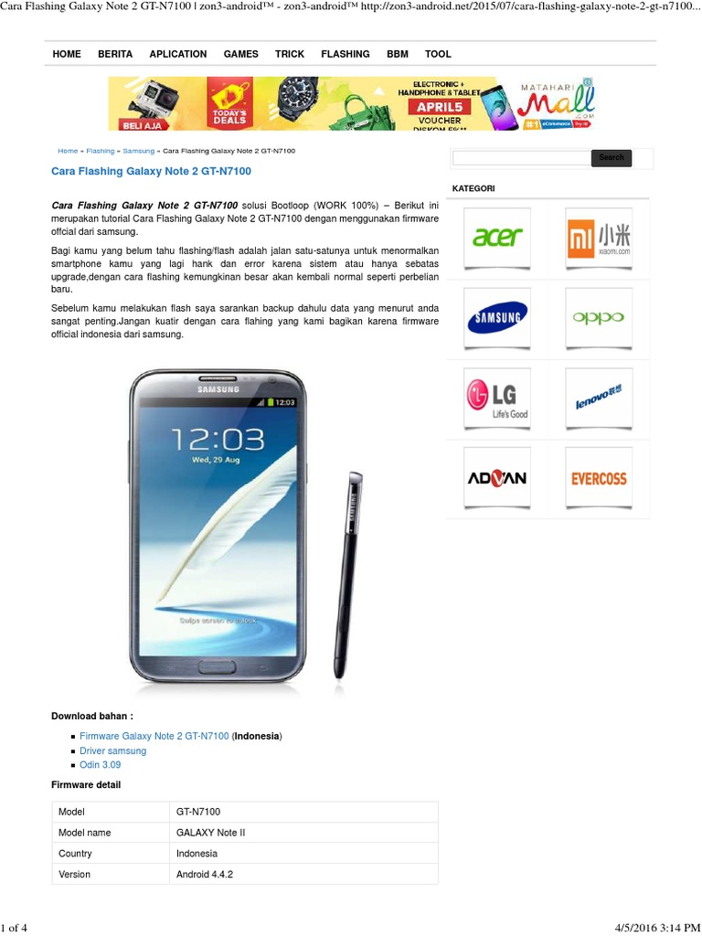 Cara Flashing Galaxy Note 2 GT-N7100 _ zon3-android™ - zon3-android™