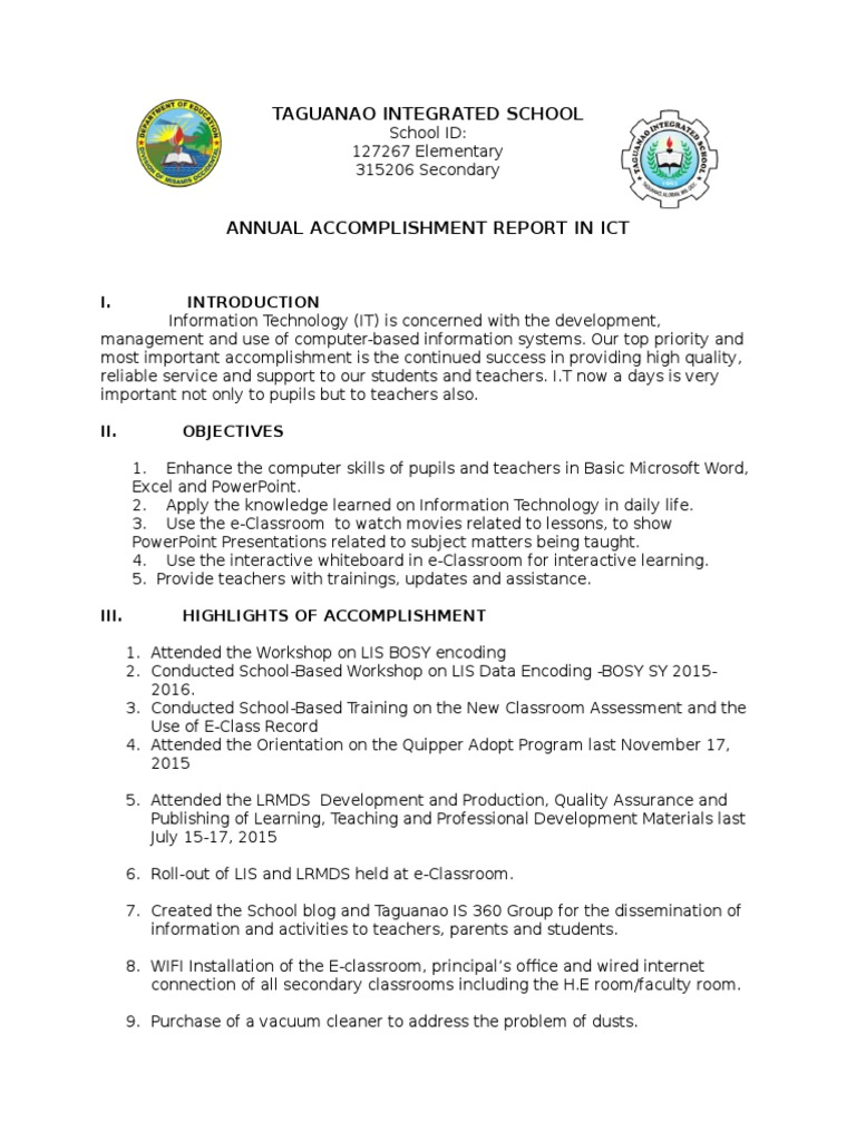 Accomplishment Report Ict Educational Technology – Accomplishment Report Format