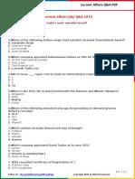 Current Affairs July Q&A PDF 2015 by AffairsCloud