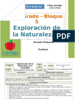 Plan 2do Grado - Bloque 5 Exploración de La Naturaleza