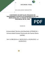 Contenido de Metales Pesados en Organismos Acuícolas Expendidos en Los Mercados de La Ciudad de Machala, Provincia de El Oro
