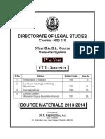 5 Year  VIII Semester Final Study Material TNDALU university Law