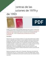 Pros y Contras de Las Constituciones de 1979 y de 1993