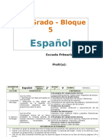 Plan 2do Grado - Bloque 5 Español