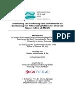 Entwicklung und Validierung einer Multimethode zur Bestimmung von Antibiotikarückständen in Milch und Wasser mittels LC-MS/MS