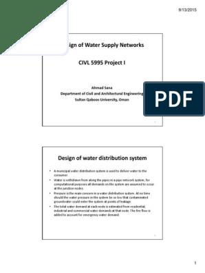 Design Water Supply Handout Water Supply Network Water Supply