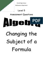 n5 algebra change subject ppqs